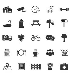 Village icons on white background vector