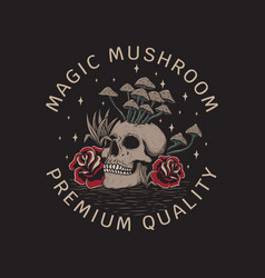 vintage hand drawn magic mushroom vector image