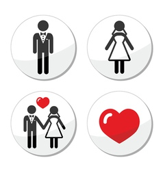 Wedding icons - married couple groom and bride vector image