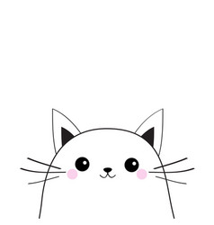 White cat face contour silhouette kawaii animal vector