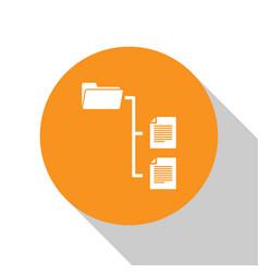 white folder tree icon isolated on white vector image