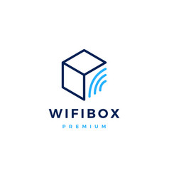 wifi box signal logo icon vector image
