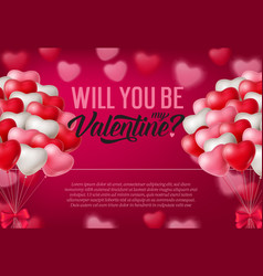 Will you be my valentine inscription bunches of vector