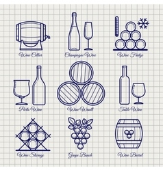 Wine line icons set vector