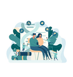 young couple sitting at the doctors office vector image