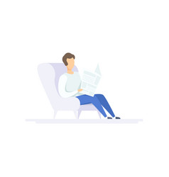 young man sitting in armchair and reading vector image