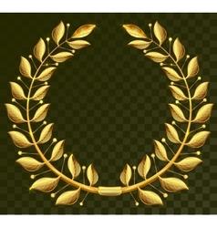 Golden laurel wreath on dark transparent vector image