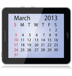 march 2013 calendar vector image vector image