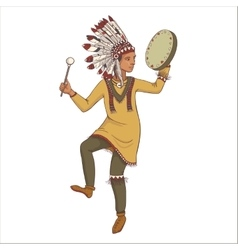 native american indian man in traditional costume vector image