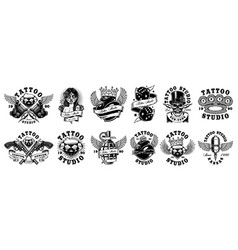 set of custom tattoo designs for white background vector image