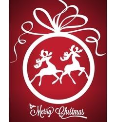 Christmas ball with deers vector image vector image