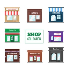 Flat shops and stores collection vector image vector image