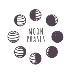 Moon phases set vector image