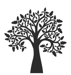 silhouette of oak tree with leaves vector image