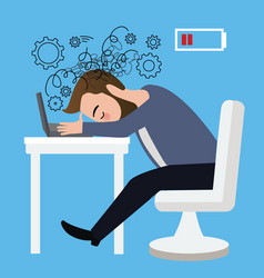 businessman worker stressed head down on laptop vector image