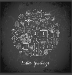 greeting card with easter doodles in circle on vector image vector image
