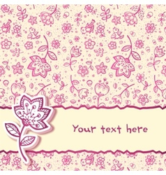 Hand-drawing flower greetings card vector image