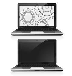 Laptop with gears on the screen vector image