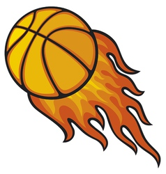 basketball ball in fire vector image vector image