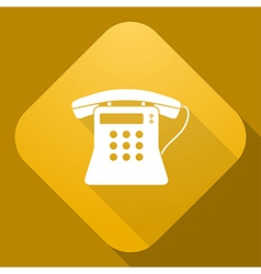 icon of Old Phone with a long shadow vector image vector image