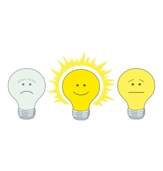 Set of electric bulbs bright on vector image