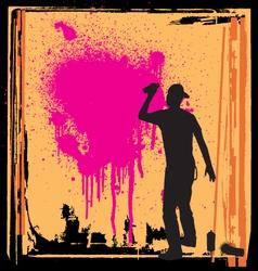 spray guy on wall vector image
