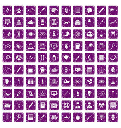 100 diagnostic icons set grunge purple vector