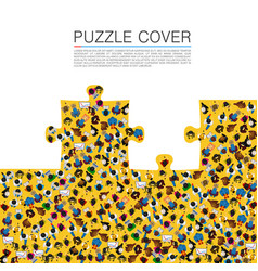 a group of people in a shape of puzzles vector image