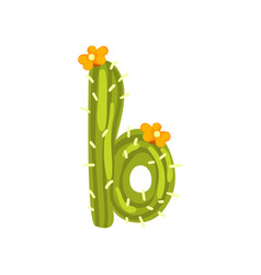 b letter in the form of cactus with orange vector image
