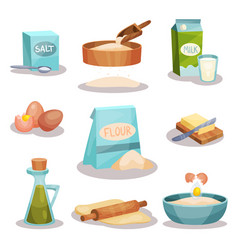 Bakery set kitchen utensils and food ingredients vector