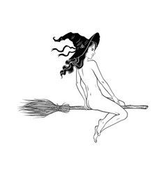 beautiful witch girl riding broom hand drawn vector image