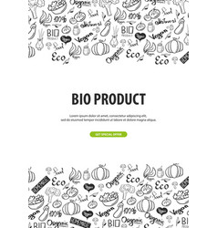 Bio product healthy food vegetarian banner hand vector