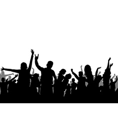Black and white party crowd silhouette vector
