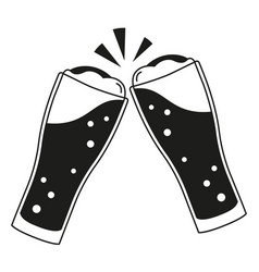 Black and white two beer glasses silhouette vector