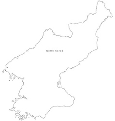 Black White North Korea Outline Map vector image