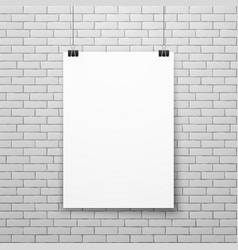 Blank white poster on brick wall vector image