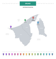 Brunei map with location pointer marks vector