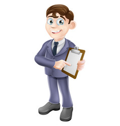 Businessman holding survey or clipboard vector