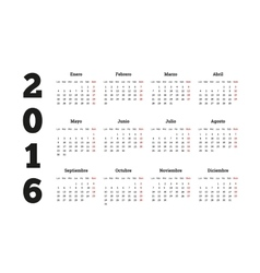 Calendar 2016 year on spanish language a4 sheet vector
