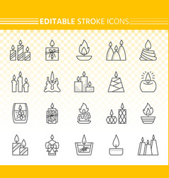 Candle simple black line icons set vector