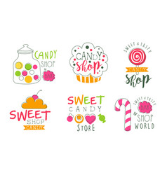 candy shop logo templates set sweet and tasty bar vector image