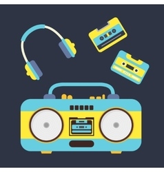 Cartoon boombox cassettes and headphones vector