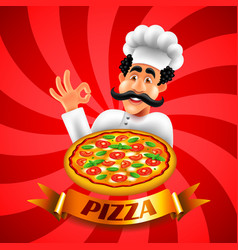 cartoon italian pizza chef on red background vector image