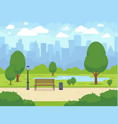 City summer park with green trees bench walkway vector