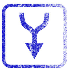 Combine arrow down framed textured icon vector