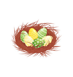 cute painted easter eggs in brown nest holiday vector image