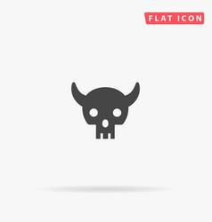 Demon skull flat icon vector