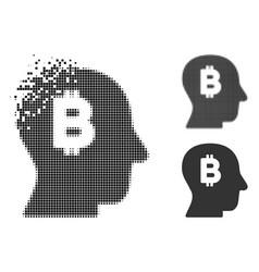 Disintegrating pixelated halftone bitcoin mind vector