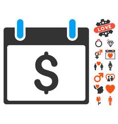 Dollar calendar day icon with lovely bonus vector