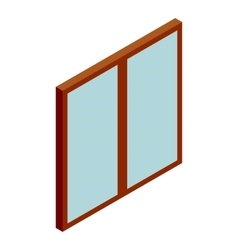 Double glass door icon cartoon style vector image